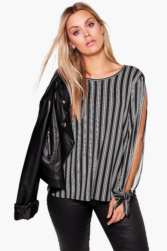 Plus Marie Tie Sleeve Open Shoulder Top