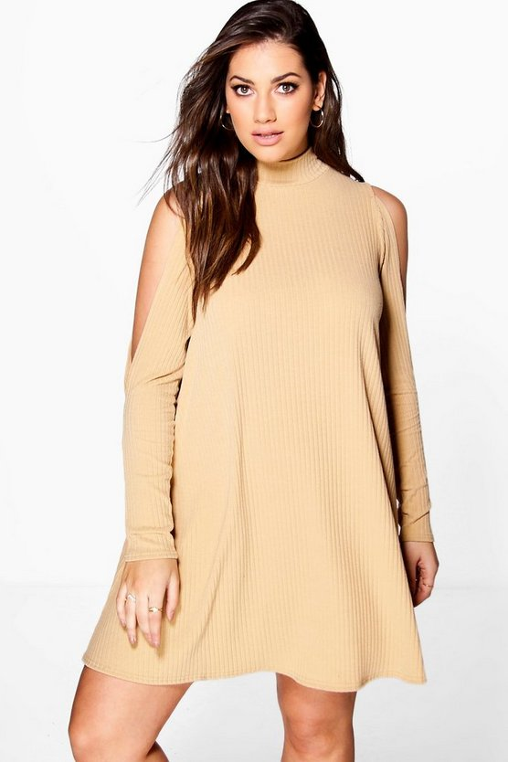 Plus Esme Open Shoulder Ribbed Swing Dress