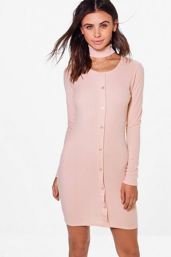 Petite Alison Button Front Choker Mini Dress