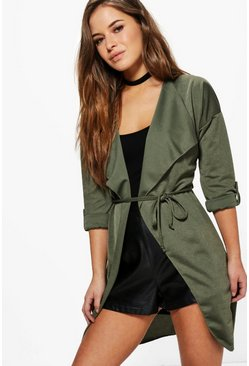 Petite Tammy Waterfall Ruched Back Belted Duster