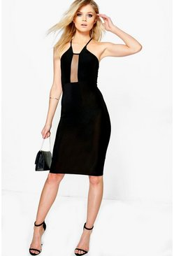 Petite Laura Mesh Panel Halterneck Bodycon Dress