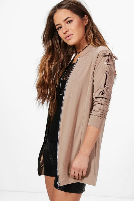 Petite Lola Lace Up Sleeve Bomber Jacket
