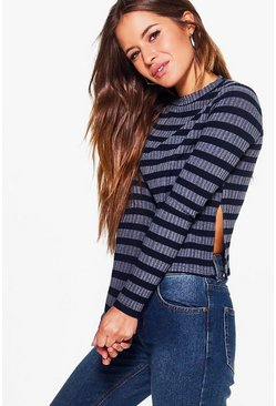 Petite Keely Split Side Ribbed Jumper