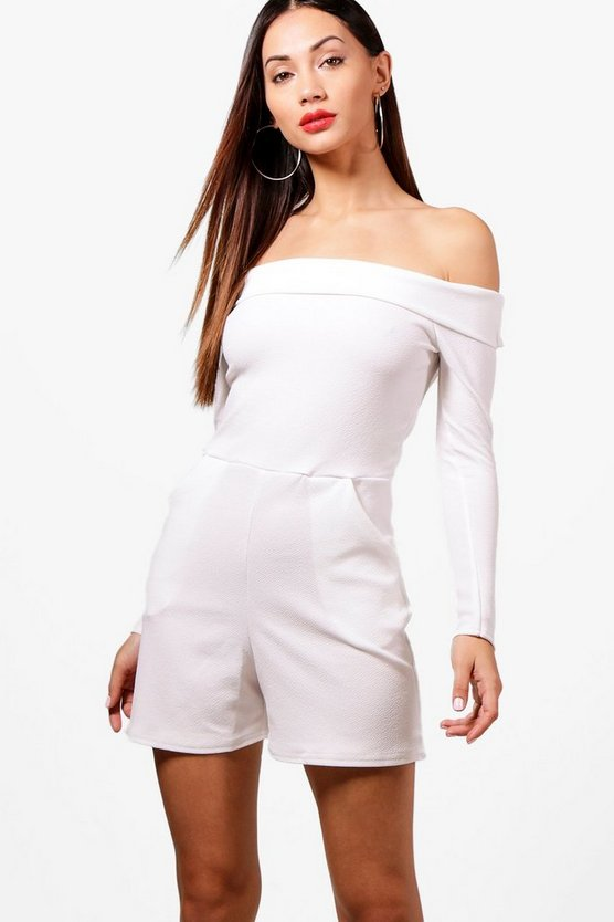 Petite Tanya Long Sleeve Off The Shoulder Playsuit