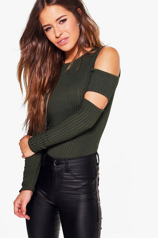 Petite Paige Cut Out Sleeve Rib Knit Jumper