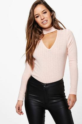 Petite Melanie Cut Out High Neck Knitted Top