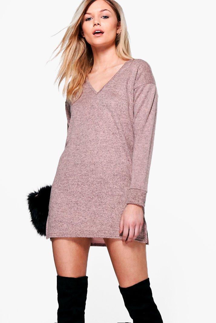 Shauna Brushed Knit Jumper Dress  blush