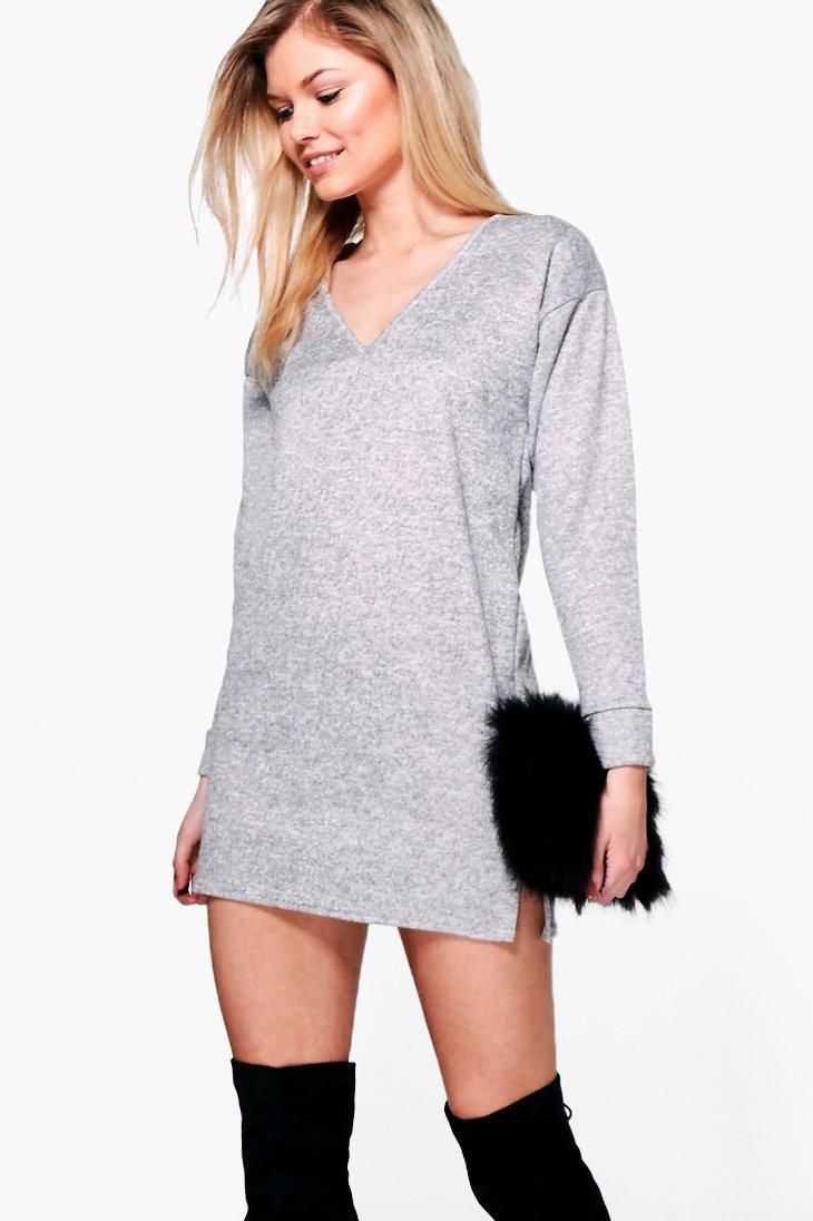 Shauna Brushed Knit Jumper Dress  grey
