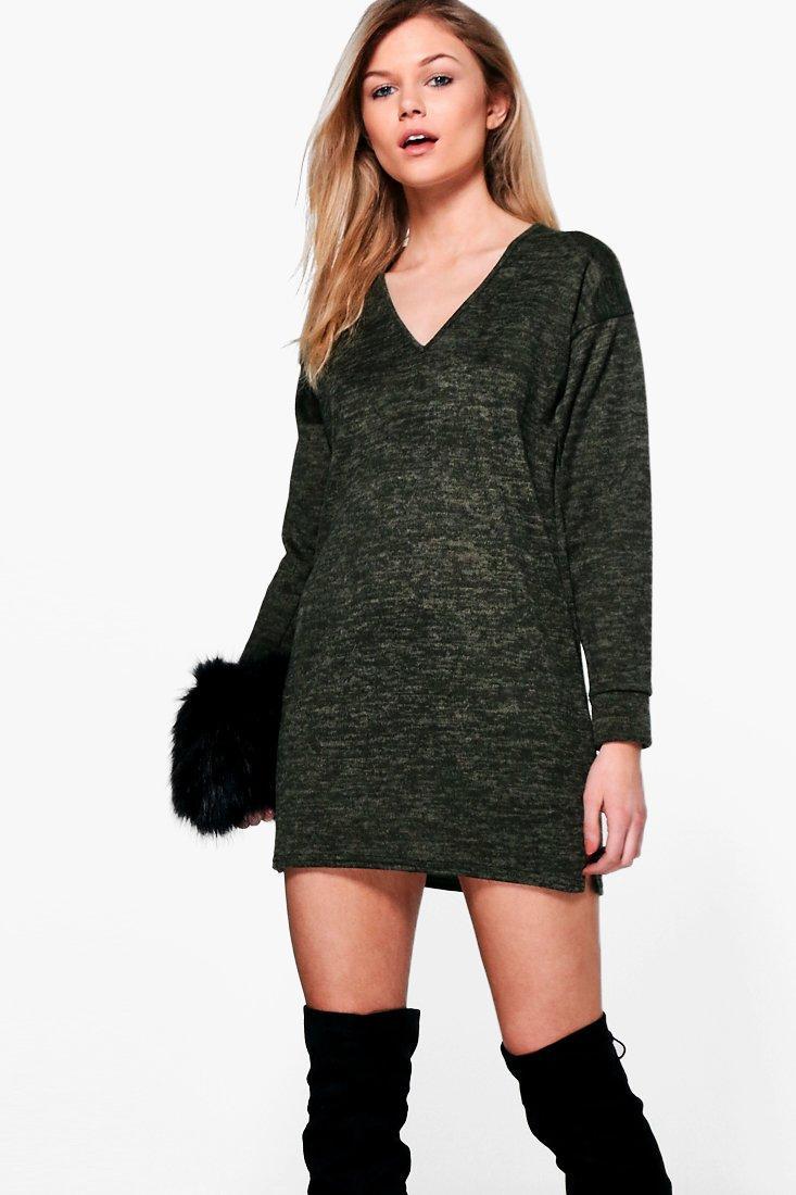 Shauna Brushed Knit Jumper Dress  khaki