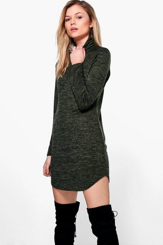 Petite Rosie Roll Neck Brushed Knit Dress