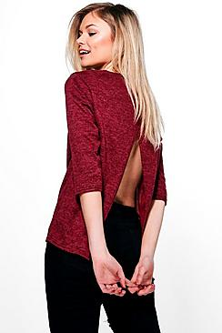 Petite India Cross Back Brushed Knit Jumper