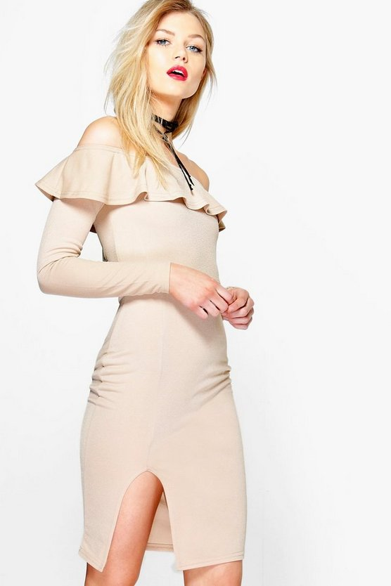 Petite Liv Long Sleeve Ruffle Off The Shoulder Dress