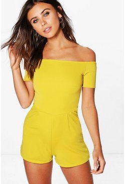 Petite Kirstie Off The Shoulder Crepe Playsuit