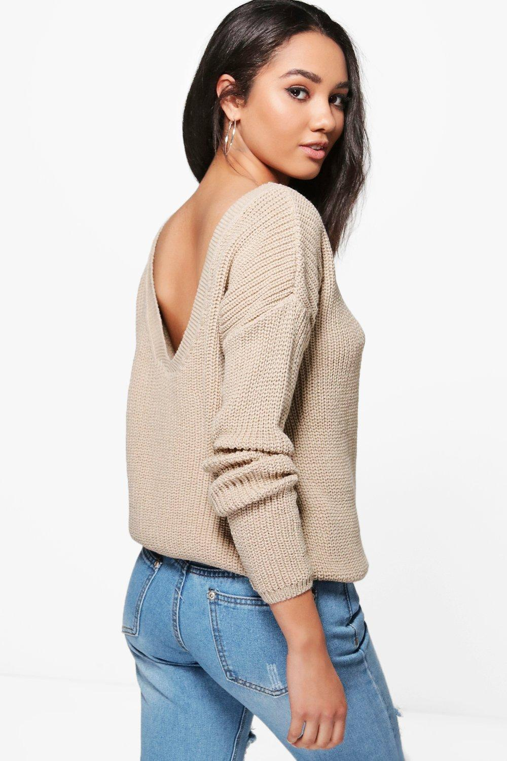 petite carly open back jumper | boohoo