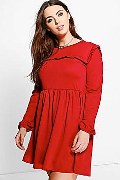 Plus Naomi Ruffle Crepe Skater Dress