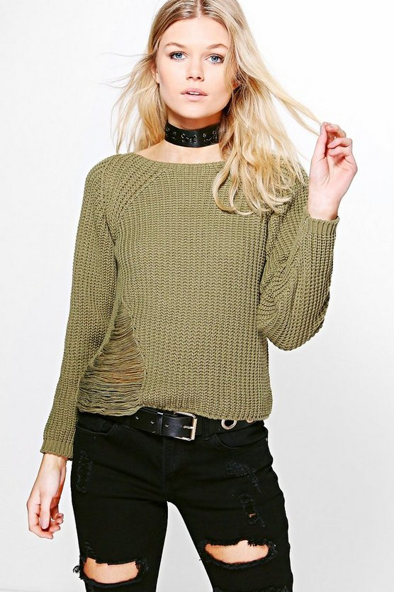 Petite Lisa Distressed Fisherman Jumper