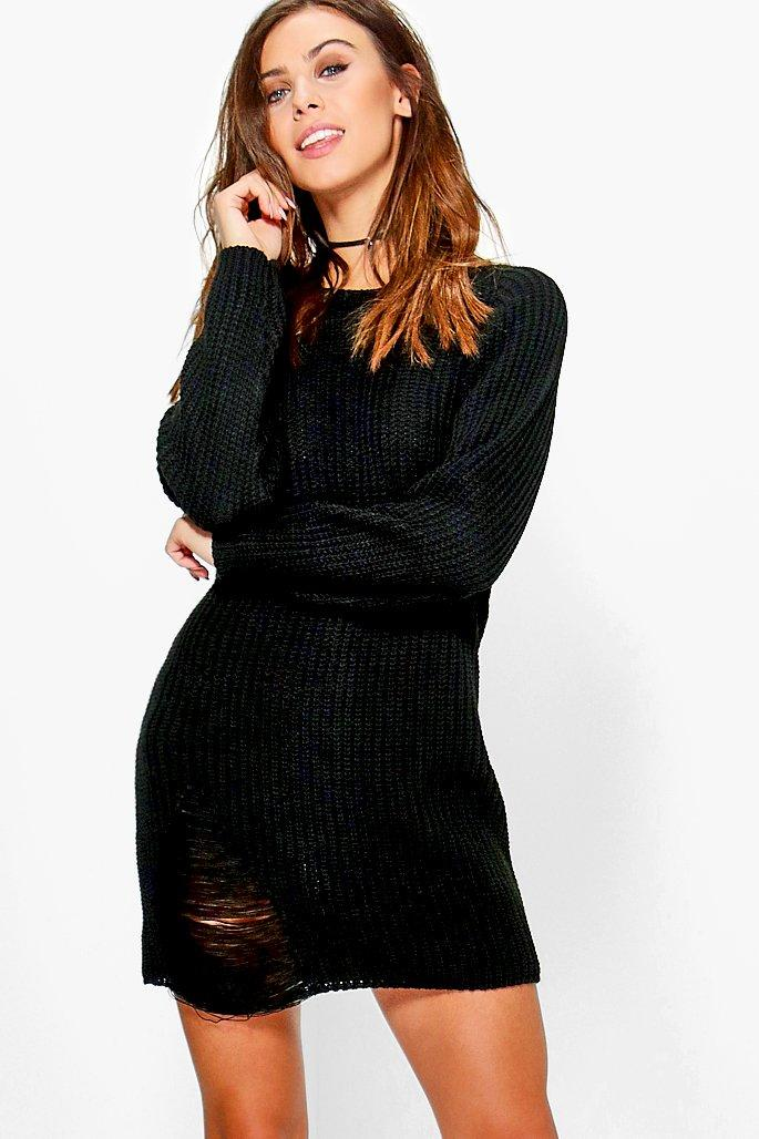 Amanda Distressed Oversized Jumper Dress  black