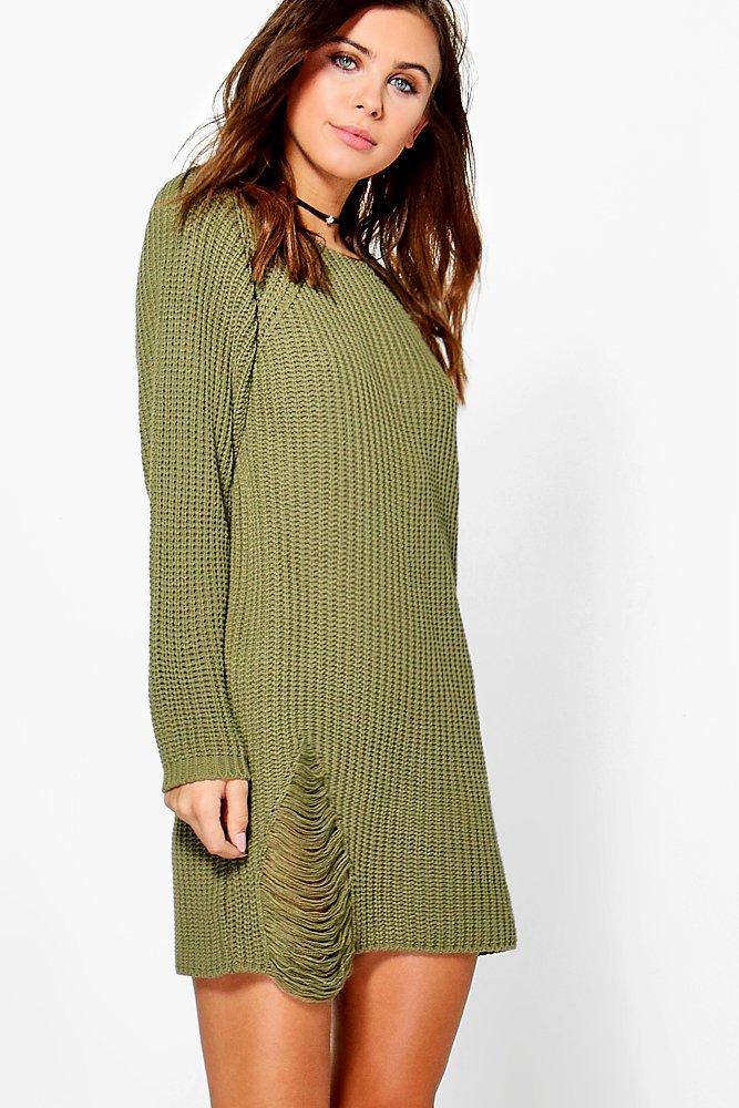 Amanda Distressed Oversized Jumper Dress  khaki