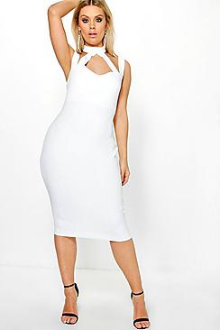 Plus Saskia High Neck Strappy Midi Bodycon Dress