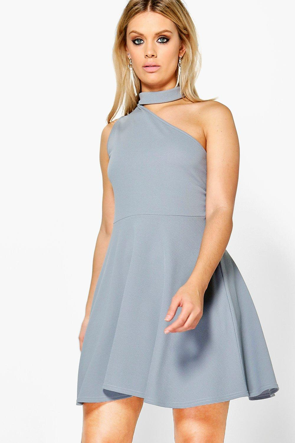 Plus Rosie Choker One Shoulder Skater Dress
