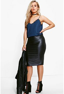 Plus Kara Wet Look Midi Skirt