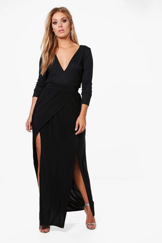 Plus Kelly Front Mock Wrap Maxi Skirt