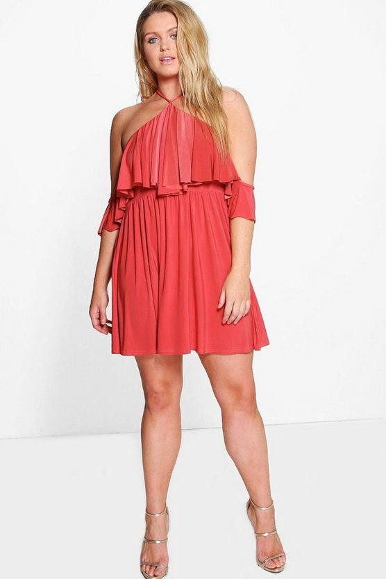 Plus Vik Double Layer Drape Sleeve Skater Dress
