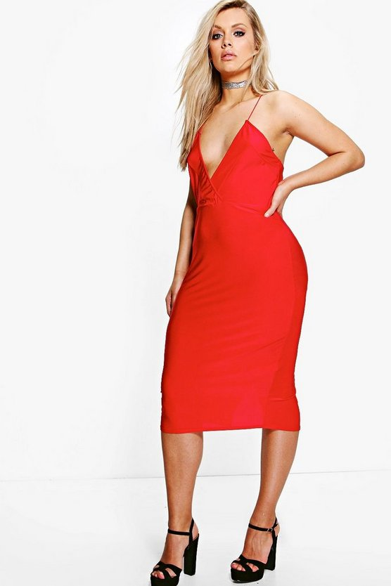 Plus Olivia Strappy Plunge Slinky Midi Dress