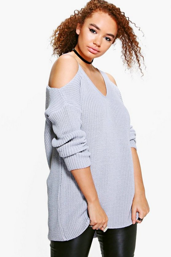 Plus Lisa Open Shoulder Slouchy Jumper