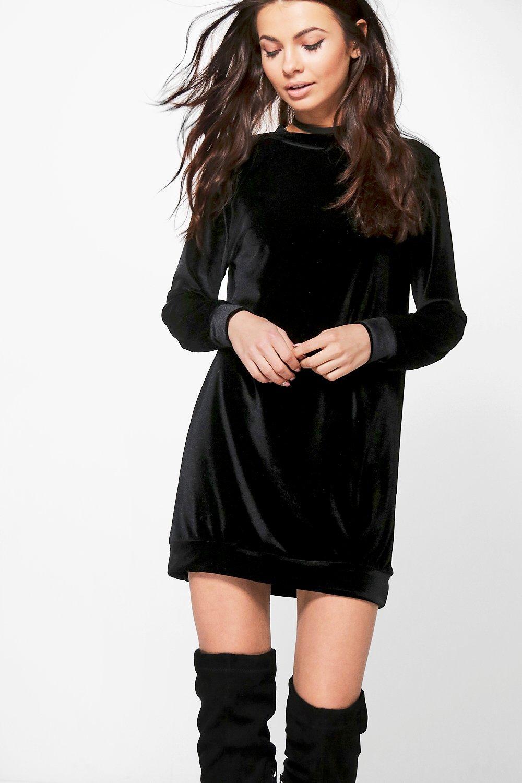 Shauna Velvet Jumper Dress  black