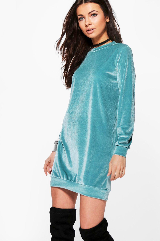 Shauna Velvet Jumper Dress  mint