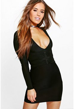 Petite Joss Double O-Ring Detail Bodycon Dress