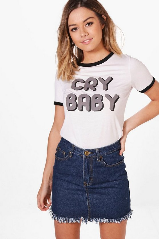 Petite Ally 'Cry Baby' Slogan Ringer Tee