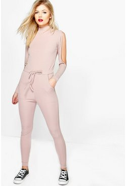 Petite Sara Open Shoulder Ribbed Jumpsuit