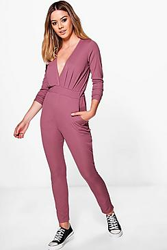 Petite Alice Ribbed Wrap Jersey Jumpsuit