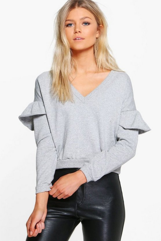 Petite Kelly V Neck Frill Detail Sweat