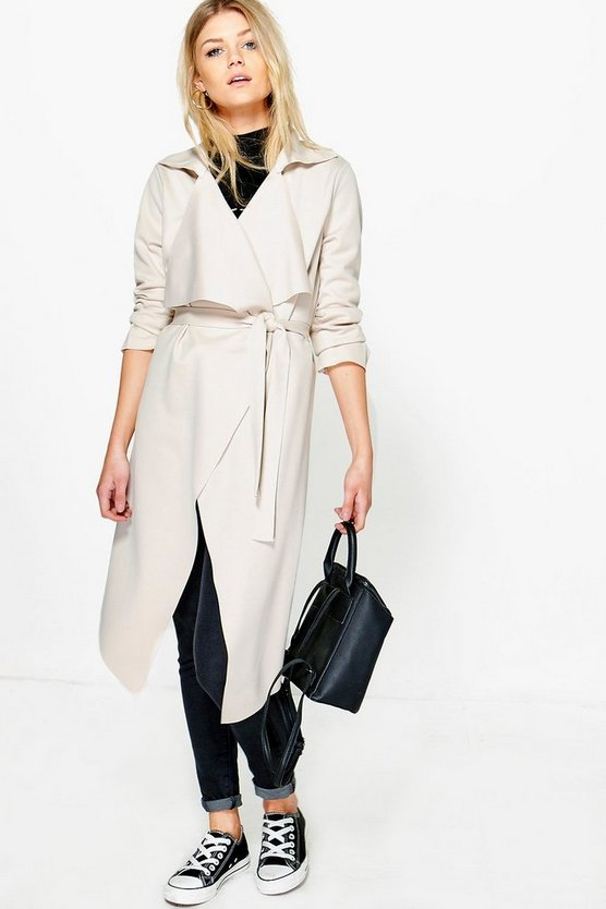 Petite Olivia Scuba Waterfall Trench Jacket