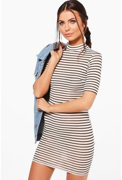 Petite Victoria Turtle Neck Stripe Dress