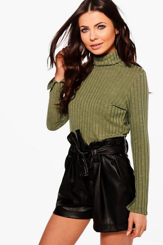 Petite Micha Turtle Neck Split Sleeve Knitted Top