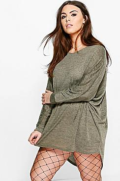 Plus Lisa Oversize Batwing Tunic Dress