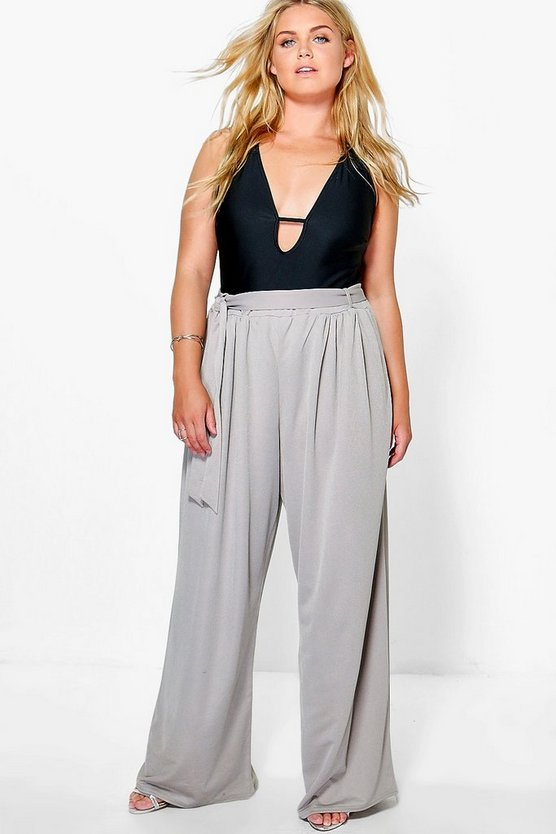 Plus Tie Waist Wide Leg Trouser