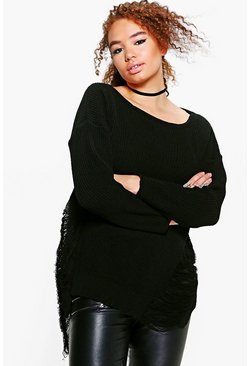 Plus Jenna Distressed Longline Knitted Jumper