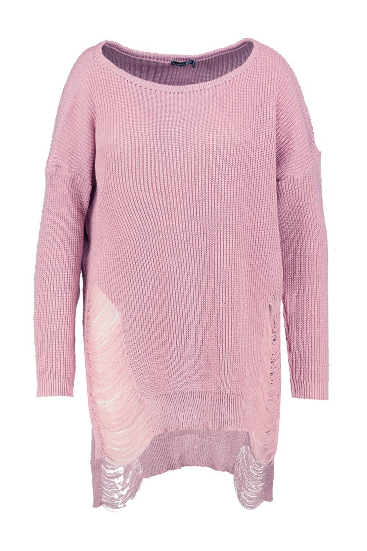 Knitting Pattern Longline Jumper : Boohoo Womens Plus Jenna Distressed Longline Knitted Jumper eBay