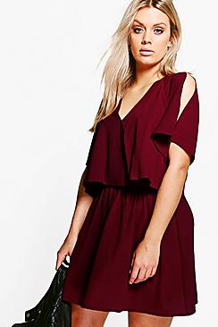 Plus Izzy Ruffle Open Shoulder Dress