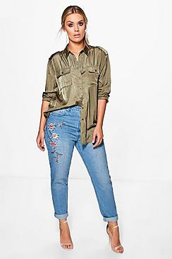 Plus Rachel Embroidered Mom Jean