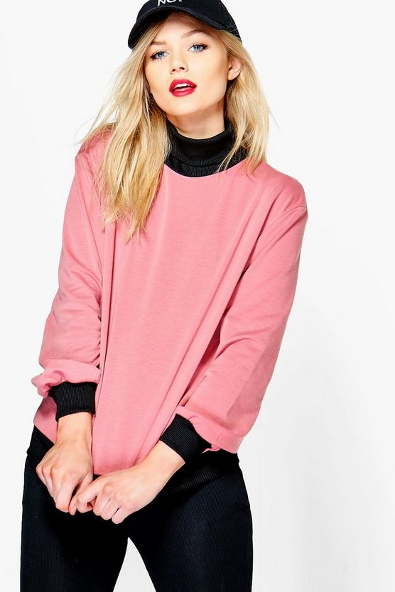 Petite Layla Contrast Rib and Hem Sweat