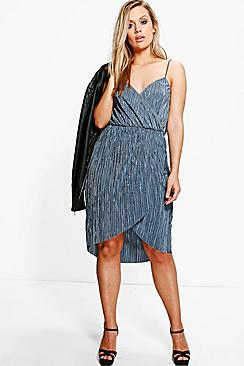 Plus Suzie Pleated Wrap Front Midi Dress
