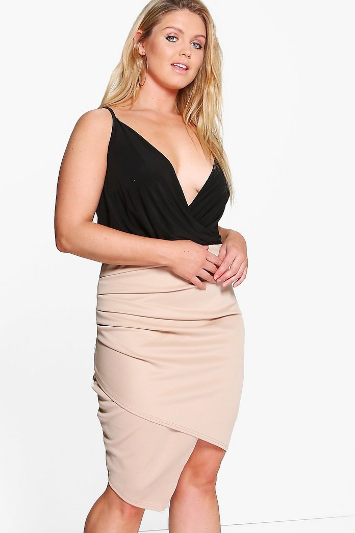 Plus Charlotte Ruched Wrap Midi Skirt