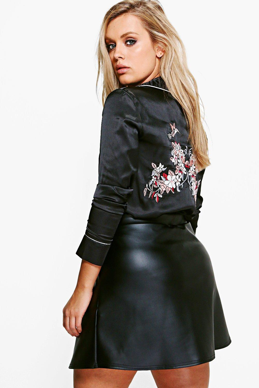 Plus Jenny Leather Look A-Line Mini Skirt at boohoo.com