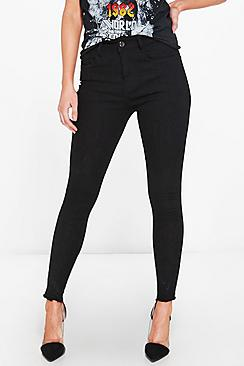 Petite Eve High Rise Embroidered Hem Skinny Jean